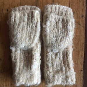Cozy fuzzy ivory mittens